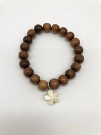 Koa Bead Stretch Bracelet with Bone Plumeria