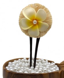 Plumeria with Pearl & Raffia Hair Stick/Pick